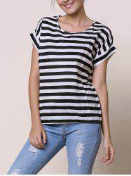 Stylish Scoop Collar Short Sleeve Striped Chiffon Women's Blouse - WHITE AND BLACK