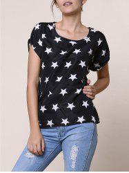 Stylish Short Sleeve Scoop Collar Star Print Chiffon Women's Blouse