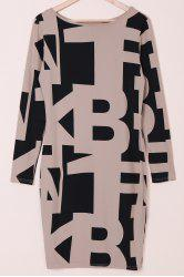 Sexy Off The Shoulder Long Sleeve Geometric Dress For Women - OFF-WHITE XL