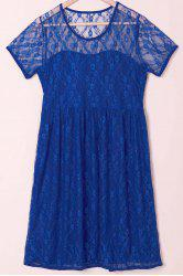 Sexy Scoop Collar Short Sleeve See-Through Solid Color Women's Lace Dress - BLUE
