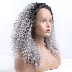 Fluffy Long Synthetic Women's Curly Lace Front Wig - BLACK AND GREY