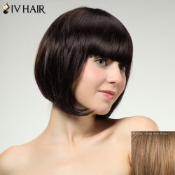 Charming Siv Hair Full Bang Straight Bobo Style Women's Human Hair Wig - BROWN WITH BLONDE
