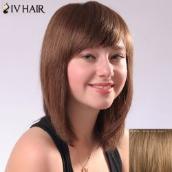 Ladylike Siv Hair Side Bang Straight Women's Human Hair Wig - BROWN WITH BLONDE