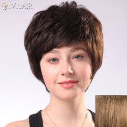 Fluffy Siv Hair Women's Short Human Hair Wig -