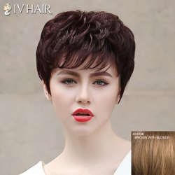 Fluffy Siv Hair Neat Bang Short Human Hair Wig For Women -