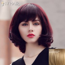 Fluffy Siv Hair Neat Bang Medium Human Hair Wig For Women - GOLDEN BROWN WITH BLONDE
