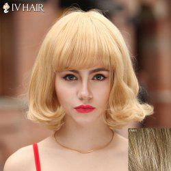 Fluffy Siv Hair Neat Bang Bobo Style Human Hair Wig For Women -