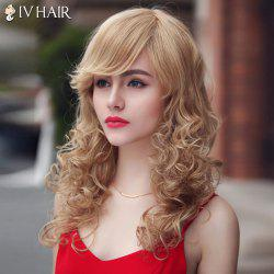Fashion Siv Hair Long Curly Oblique Bang Human Hair Wig For Women