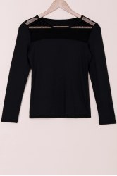 Stylish Round Collar Voile Splicing Slimming Long Sleeve Women's T-Shirt - BLACK