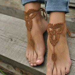 Pair of Charming Knitted Clover Sandal Anklets For Women -
