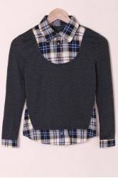 Casual Shirt Collar Long Sleeve Spliced Plaid Faux Twinset Women's Shirt -