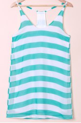 Casual Scoop Collar Sleeveless Color Block Striped Women's Sundress - BLUE AND WHITE