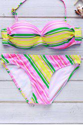 Chic Rainbow Print Halter Bikini Swimwear For Women