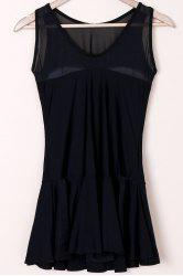 Sweet Black Sleeveless See-Through Spliced Flounced One-Piece Swimwear For Women
