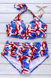Sexy Halter   American Flag Print Bikini Set For Women