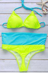 Refreshing Halter Color Block Bikini Set For Women -