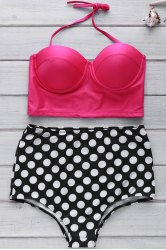 Bustier Bikini Top and Polka Dot High Waisted Bottoms