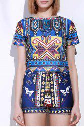 Vintage Geometric Printed Short T-Shirt+High Waist Shorts Twinset For Women - COLORMIX