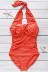 Sweet Halterneck Ruffled Criss-Cross One-Piece Women's Swimsuit