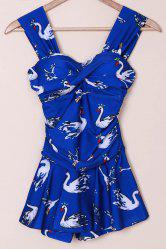 Women's Sexy Sweetheart Neck Swan Print Tankini Swimwear