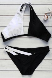 Sexy V-Neck Color Block Hollow Out Women's Swimwear -