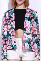 Stylish Lapel Long Sleeve Floral Print Women's Blazer - COLORMIX