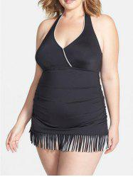 Fashionable Halter Fringed Plus Size One-Piece Swimsuit For Women - BLACK 4XL