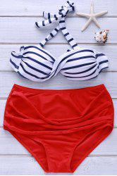Retro Style Halterneck High-Waisted Striped Bikini Set For Women
