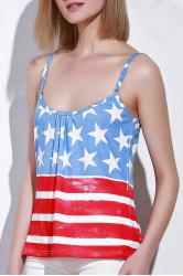 Stylish Spaghetti Strap Sleeveless Striped Star Print Women's Tank Top