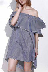 Sexy Off-The-Shoulder Half Sleeve Solid Color Flounced Women's Dress -