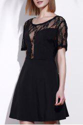 Stylish Scoop Neck Lace Spliced Plus Size Short Sleeve Dress For Women