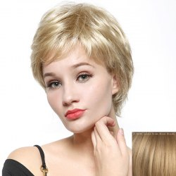 Fashion Fluffy Natural Wave Capless Human Hair Short Wig - GOLDEN BROWN WITH BLONDE