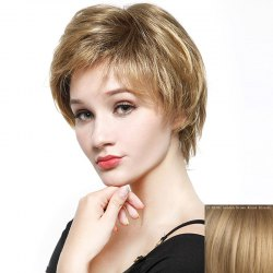 Fluffy Short Layered Natural Straight Fashion Side Bang Capless Human Hair Wig For Women - GOLDEN BROWN WITH BLONDE