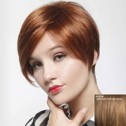 Stunning Short Side Bang Capless Vogue Straight Real Human Hair Wig For Women -