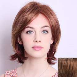 Stunning Medium Side Bang  Human Hair Fluffy Natural Wave Wig