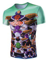 3D Japanese Cartoon Figures Printed Character T-Shirt - COLORMIX L