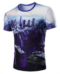 The Fall of the City 3D Print Round Neck Short Sleeve T-Shirt For Men - COLORMIX M