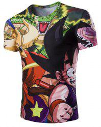 3D Japanese Cartoon Figure Printed Character T-Shirt - COLORMIX