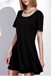 Trendy Scoop Neck Solid Color Plus Size Short Sleeve Dress For Women