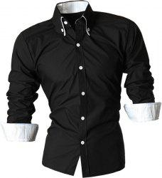 Turn-Down Collar Button-Down Stripe Hemming Design Long Sleeve Shirt For Men - BLACK