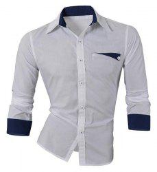 Hot Sale Single Breasted Turn Down Collar Shirt For Men - WHITE
