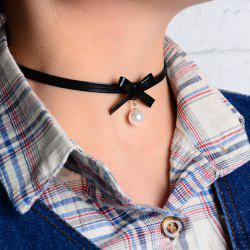 Bowknot Faux Pearl Embellished Chokers Necklace -