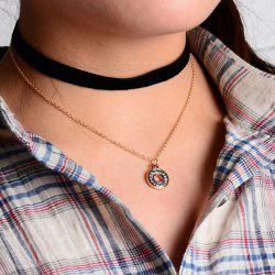 Double Layered Rhinestone Hollow Circle Pendant Chokers Necklace
