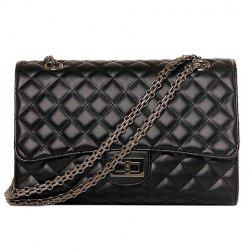 Vintage Black Color and Checked Design Crossbody Bag For Women