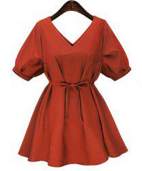 Fashionable V-Neck Short Sleeve Pure Color Women's Dress -