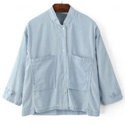 Chic Stand Collar 3/4 Sleeves Solid Color Denim Jacket For Women