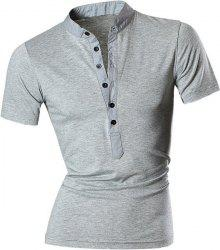 Stand Collar Spliced Design Buttons Short Sleeve T-Shirt For Men