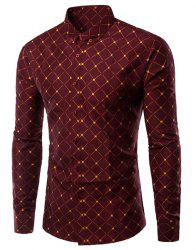 Turn-Down Collar Argyle Pattern Long Sleeve Shirt For Men -