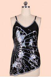 Trendy Spaghetti Strap Sequin Asymmetric Hem Women's Tank Top