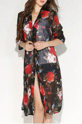 Fashionable Collarless Floral Print 3/4 Sleeve Slit Blouse For Women -